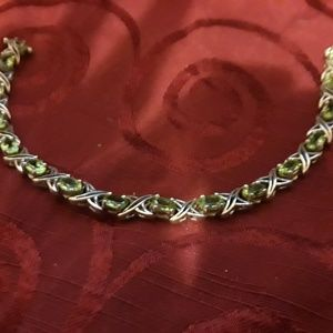 Peridot and Sterling chain bracelet